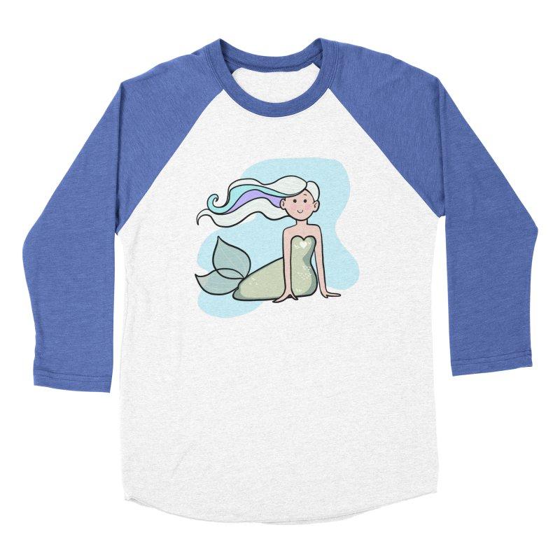 Happy Mermaid Men's Baseball Triblend Longsleeve T-Shirt by girlgeek's Artist Shop
