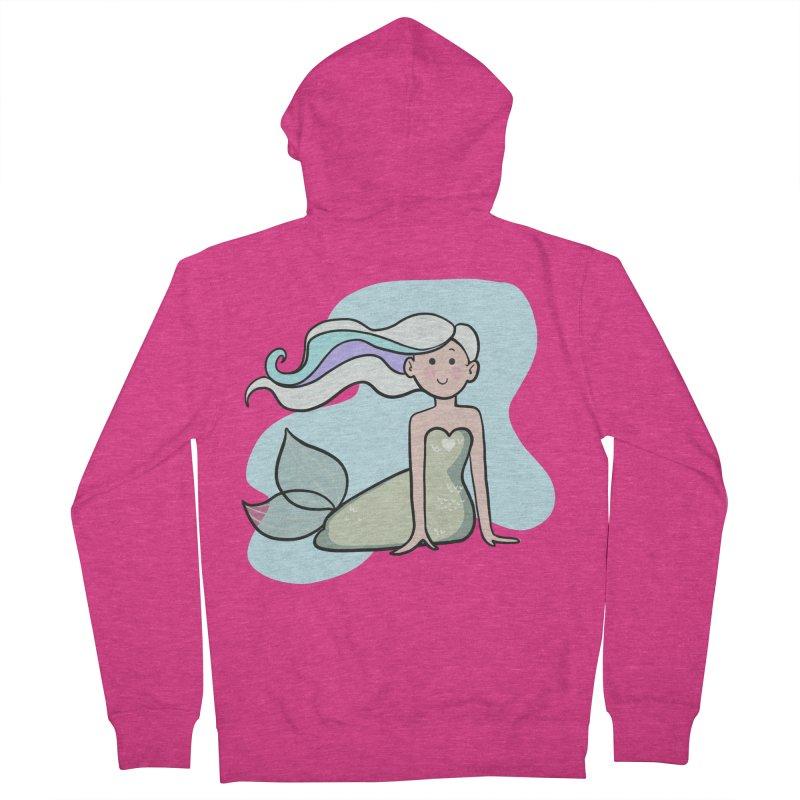 Happy Mermaid Women's French Terry Zip-Up Hoody by girlgeek's Artist Shop