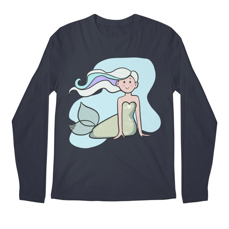 Happy Mermaid Men's Regular Longsleeve T-Shirt by girlgeek's Artist Shop