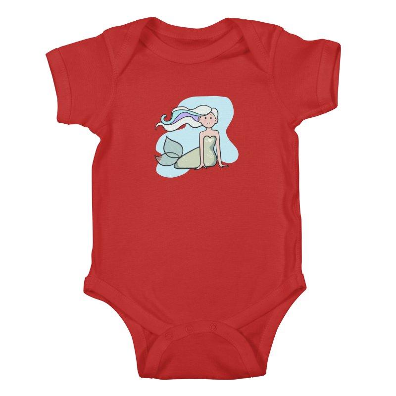 Happy Mermaid Kids Baby Bodysuit by girlgeek's Artist Shop