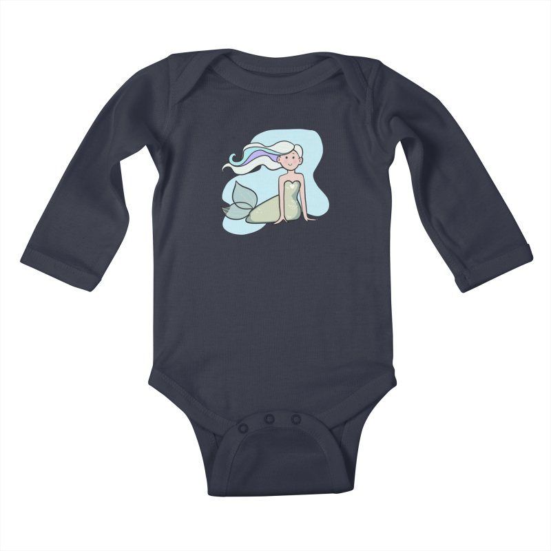 Happy Mermaid Kids Baby Longsleeve Bodysuit by girlgeek's Artist Shop
