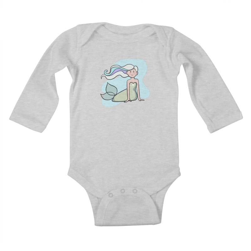 Happy Mermaid Kids Baby Longsleeve Bodysuit by girlgeek's Artist Shop