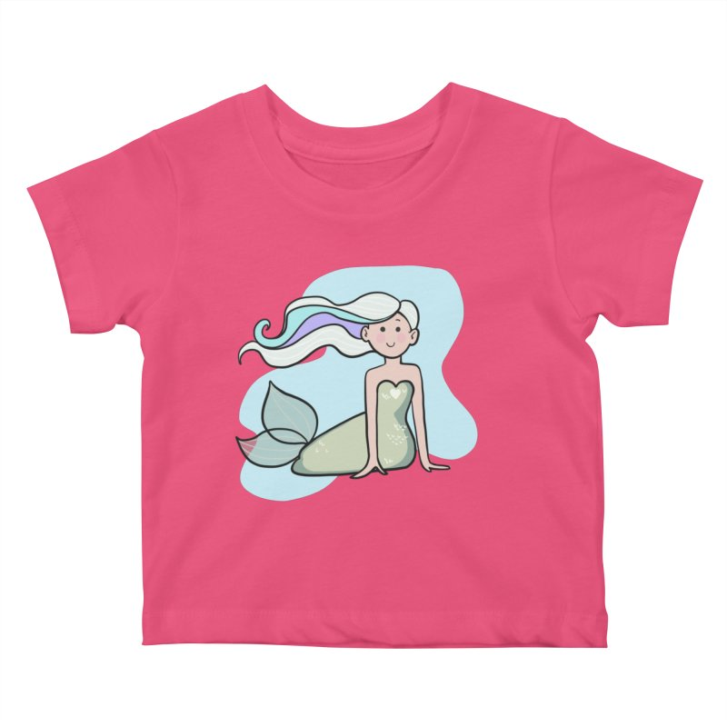 Happy Mermaid Kids Baby T-Shirt by girlgeek's Artist Shop