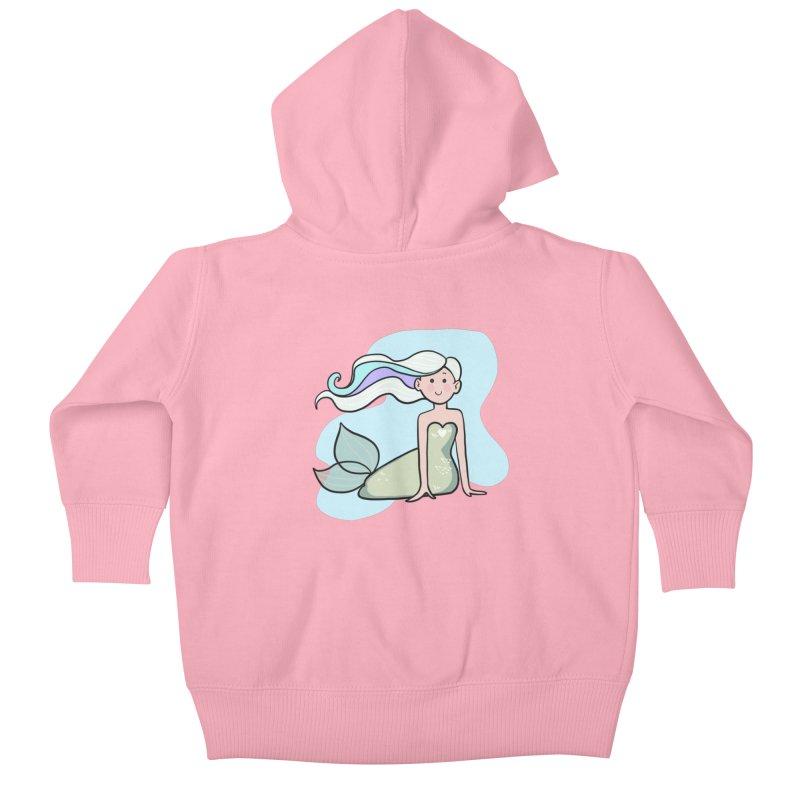 Happy Mermaid Kids Baby Zip-Up Hoody by girlgeek's Artist Shop