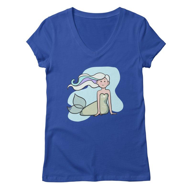 Happy Mermaid Women's Regular V-Neck by girlgeek's Artist Shop