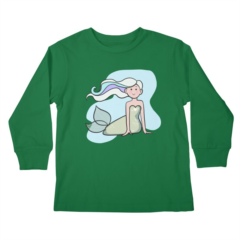 Happy Mermaid Kids Longsleeve T-Shirt by girlgeek's Artist Shop