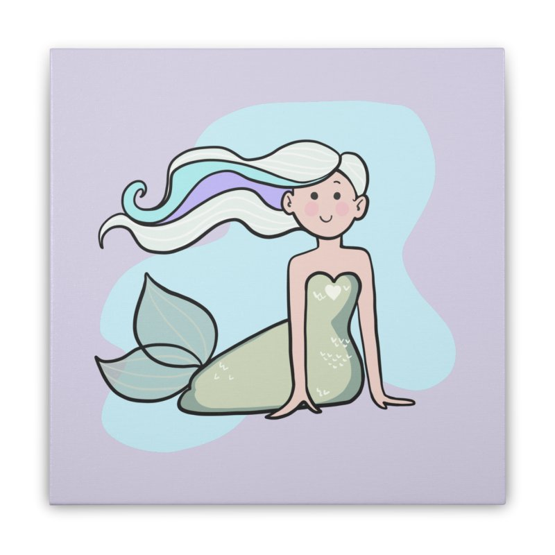 Happy Mermaid Home Stretched Canvas by girlgeek's Artist Shop