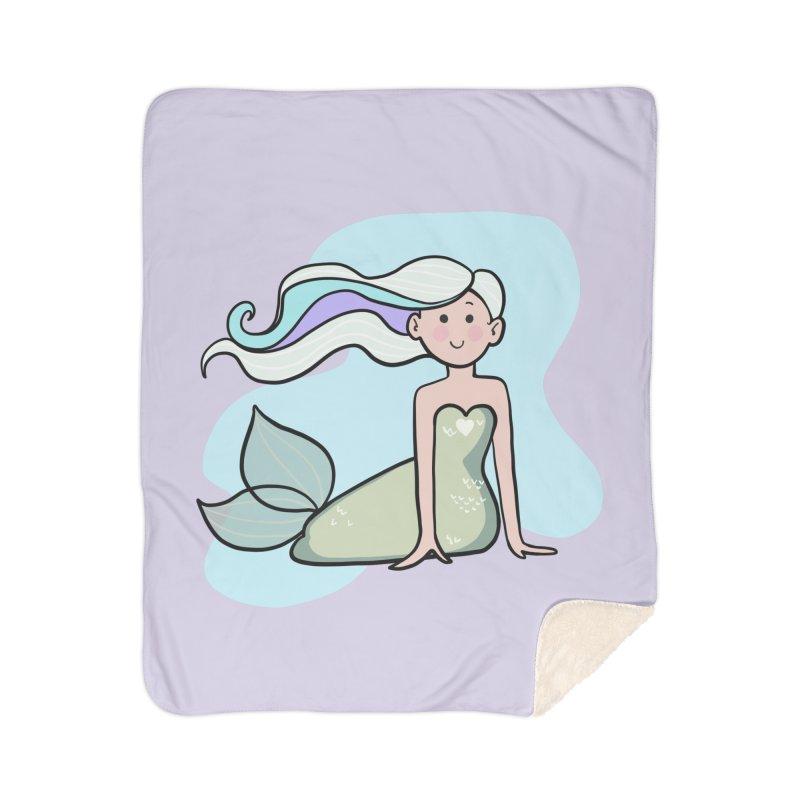 Happy Mermaid Home Sherpa Blanket Blanket by girlgeek's Artist Shop
