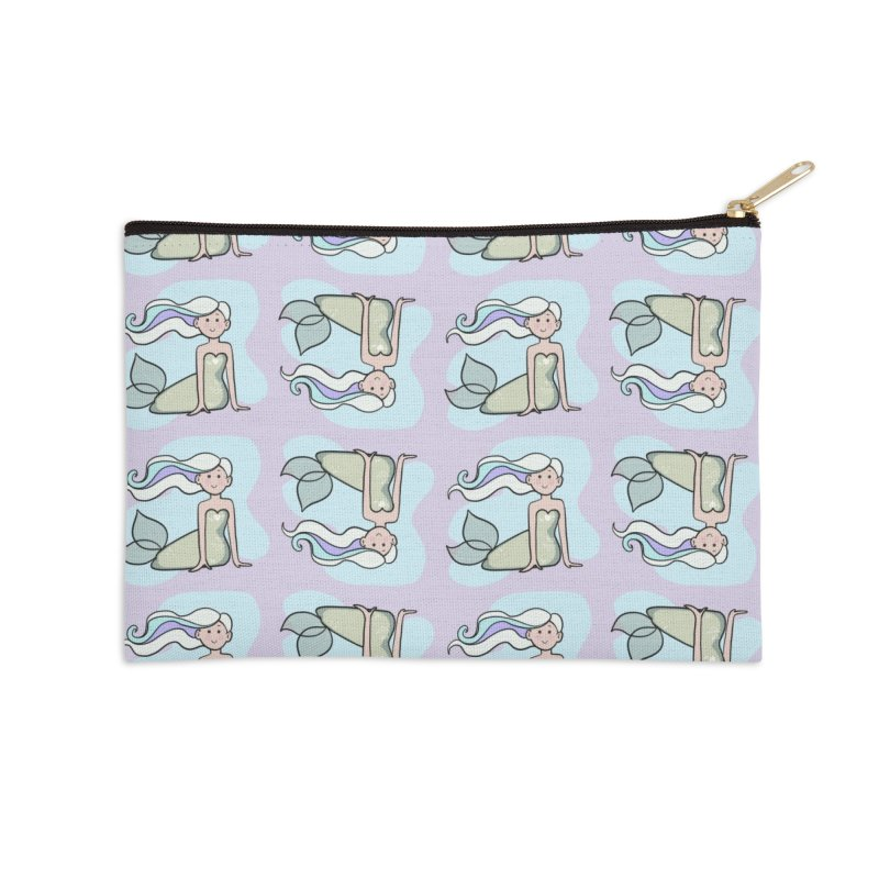 Happy Mermaid Accessories Zip Pouch by girlgeek's Artist Shop
