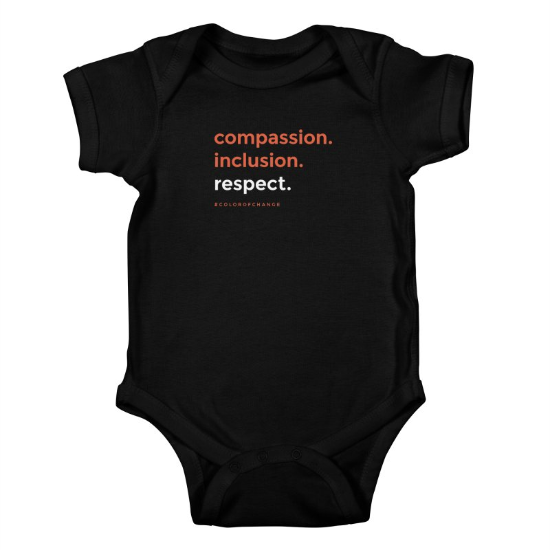 Compassion+Inclusion+Respect Kids Baby Bodysuit by GGUX APPAREL: ALL PROCEEDS TO BLACK LIV
