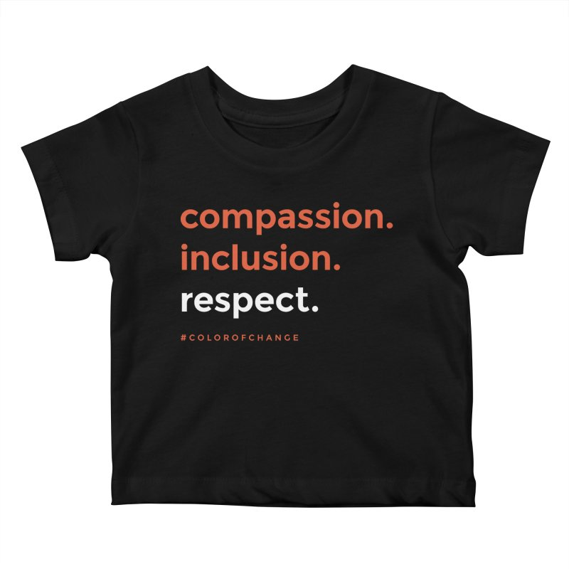 Compassion+Inclusion+Respect Kids Baby T-Shirt by GGUX APPAREL: ALL PROCEEDS TO BLACK LIV
