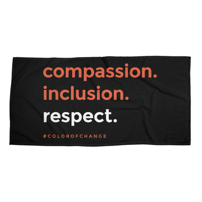 Compassion+Inclusion+Respect Accessories Beach Towel by GGUX APPAREL: ALL PROCEEDS TO BLACK LIV