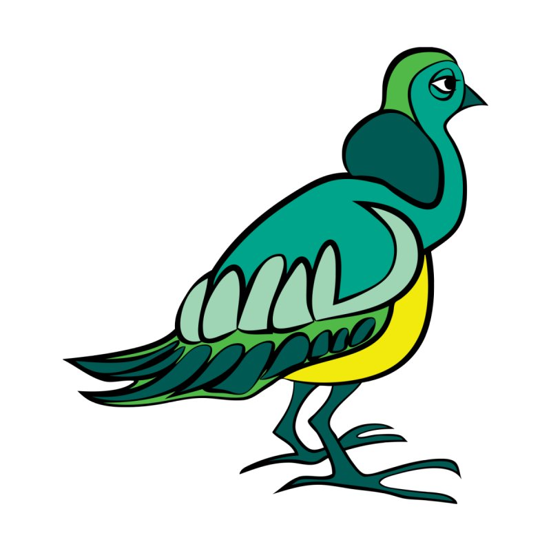 Pigeon -green by gkartwork's Artist Shop
