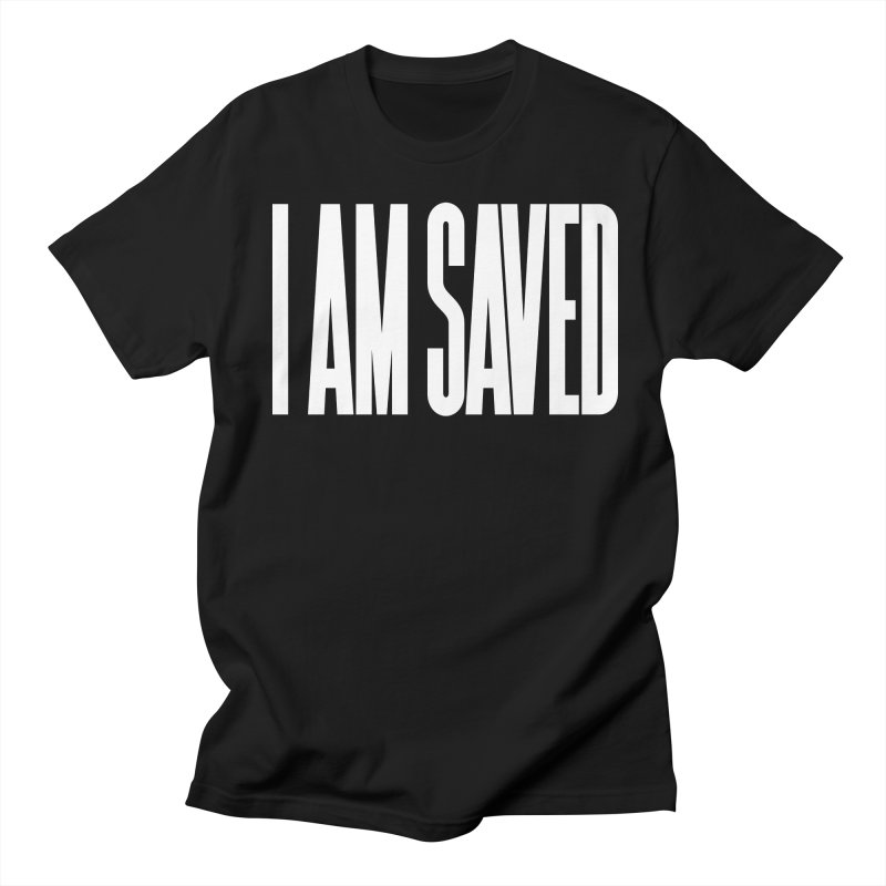 I AM SAVED x white in Men's Regular T-Shirt Black by GL0W Store