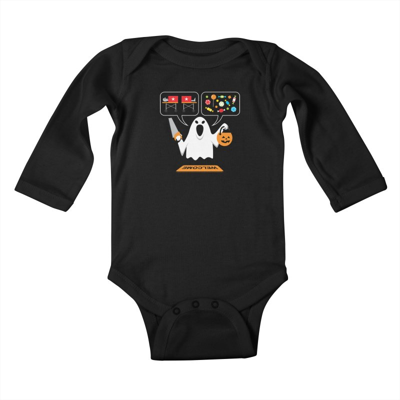 Trick Or Treat Kids Baby Longsleeve Bodysuit by Glennz