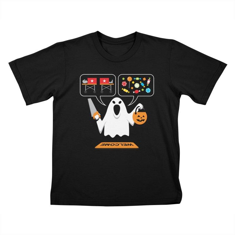 Trick Or Treat Kids T-Shirt by Glennz