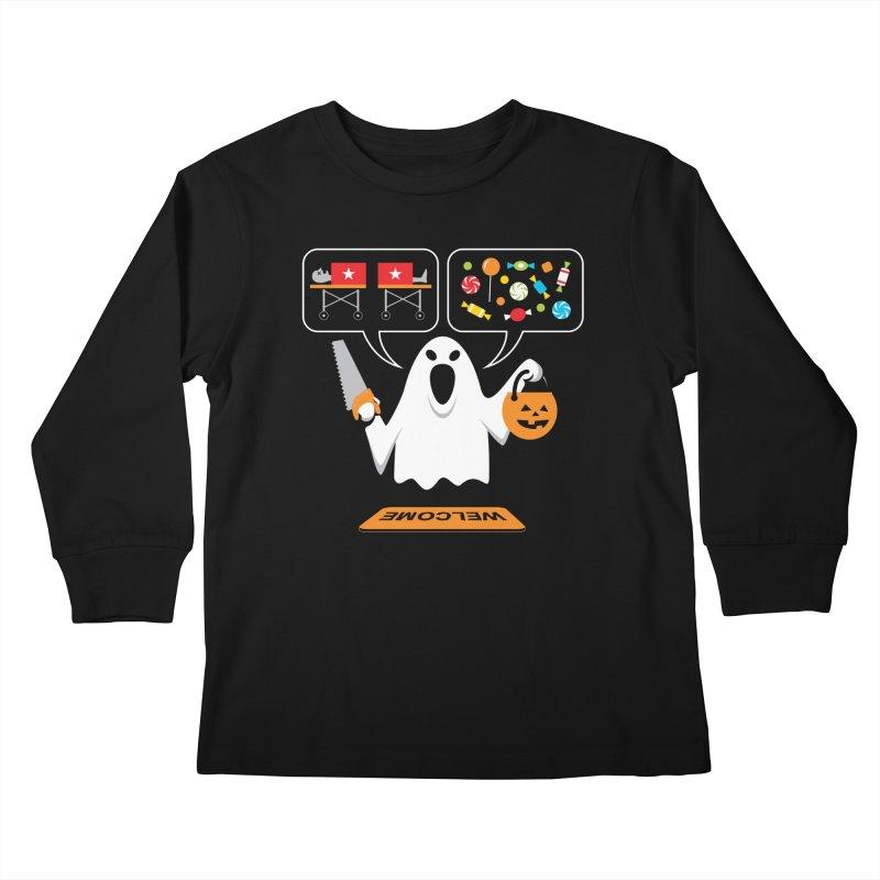 Trick Or Treat Kids Longsleeve T-Shirt by Glennz