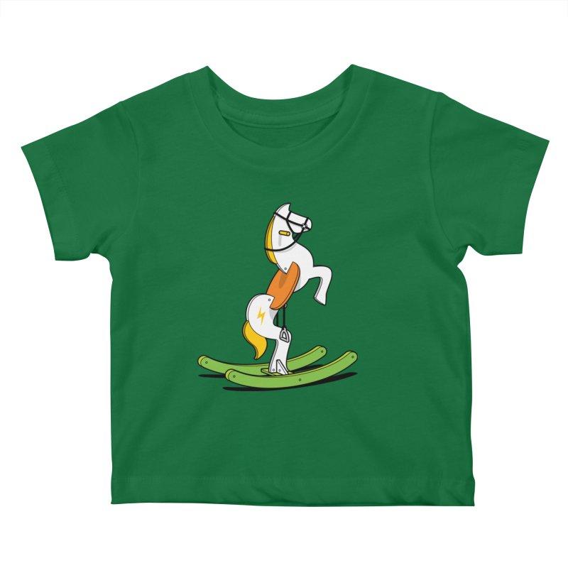 Wild Rocking Horse Kids Baby T-Shirt by Glennz