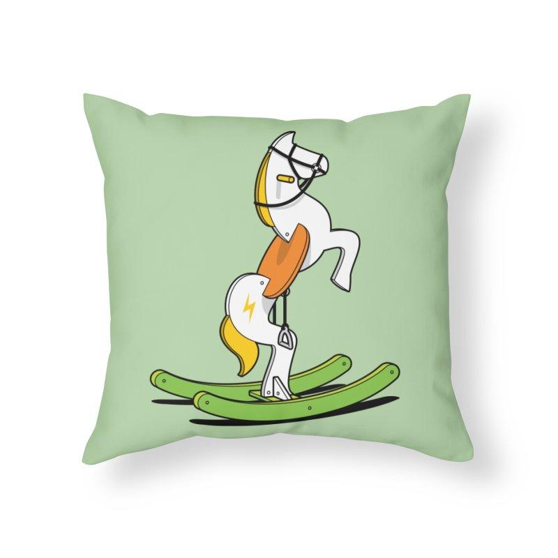 Wild Rocking Horse Home Throw Pillow by Glennz