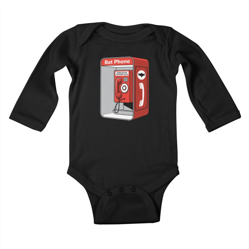Public Bat Phone Kids Baby Longsleeve Bodysuit by glennz's Artist Shop