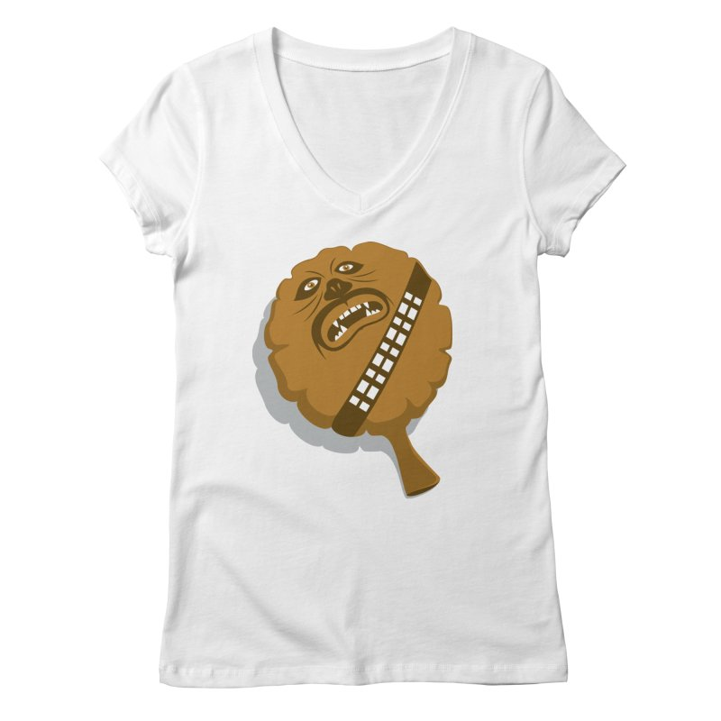Wookie Cushion Women's V-Neck by glennz's Artist Shop