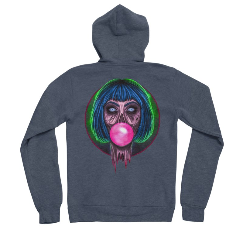 Zombie Bubblegum Women's Sponge Fleece Zip-Up Hoody by The Glitchway
