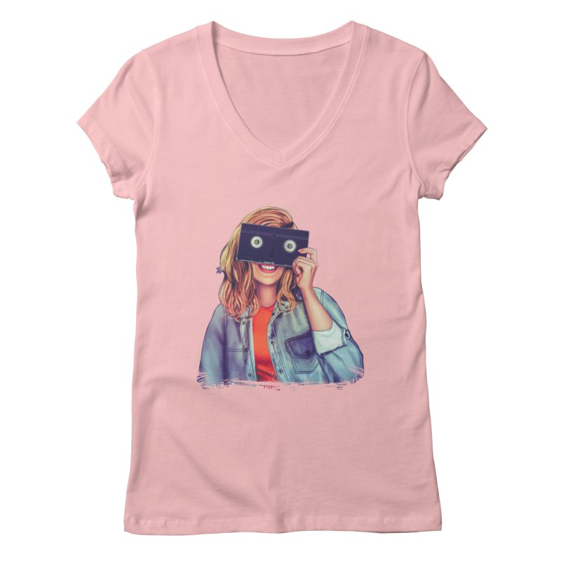 VHS Vision Women's Regular V-Neck by The Glitchway