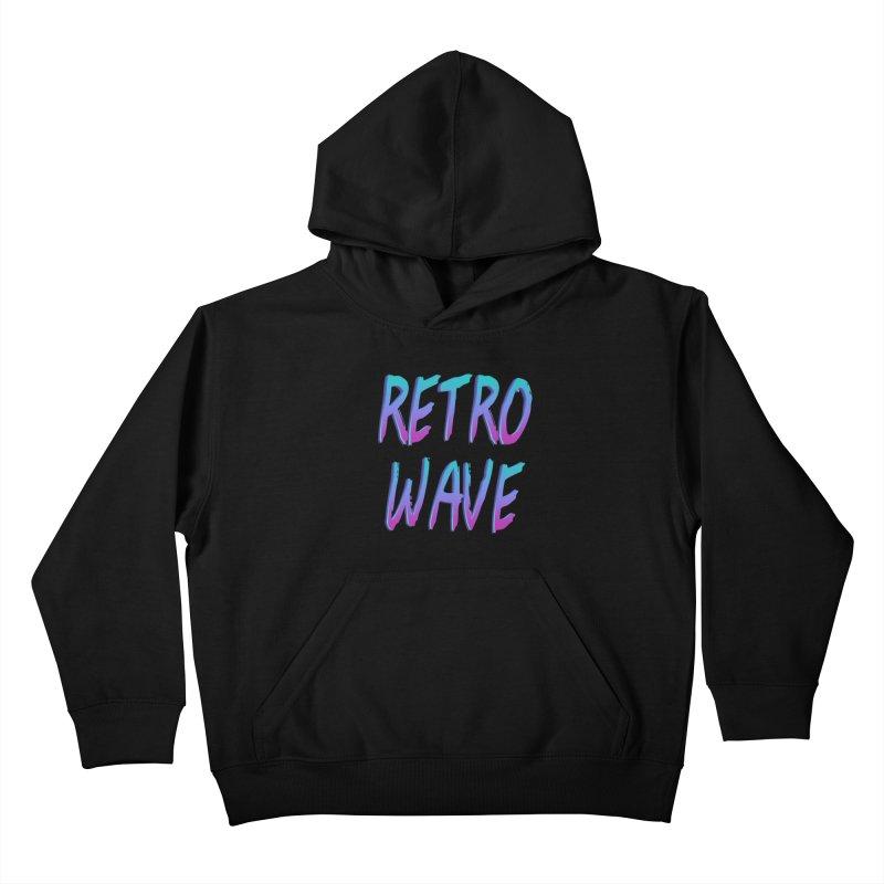 Retrowave Ocean II Kids Pullover Hoody by Glitchway Store