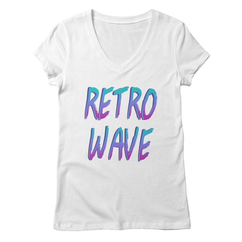 Retrowave Ocean II Women's Regular V-Neck by The Glitchway