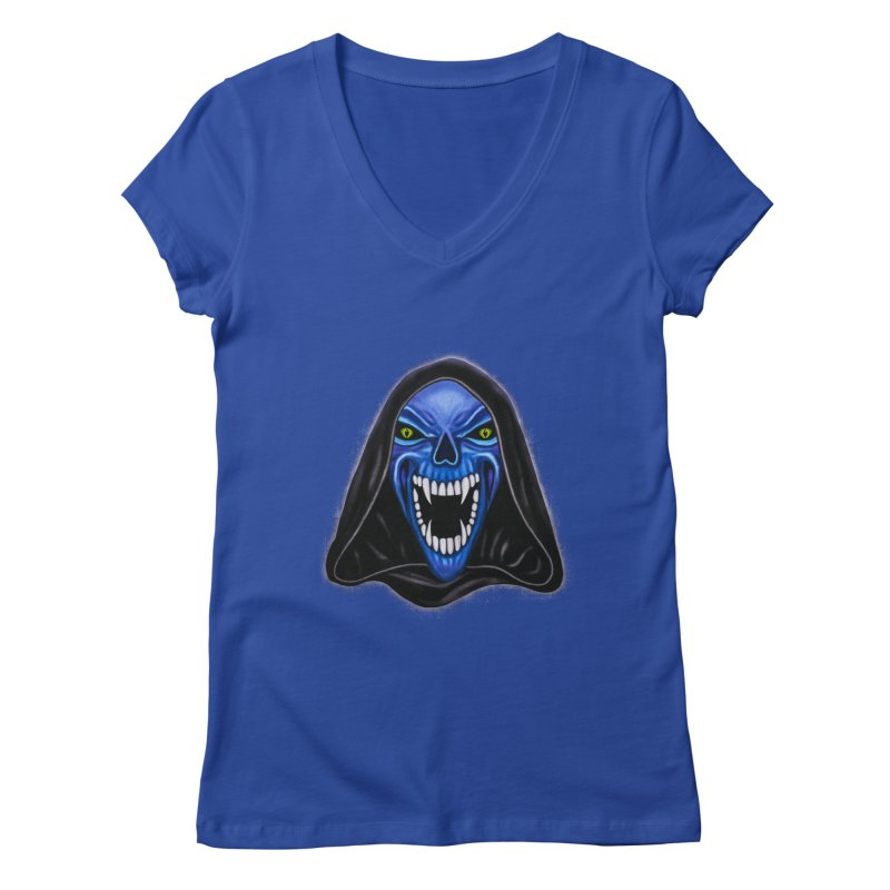 Blue Ghost Women's V-Neck by Glitchway Store