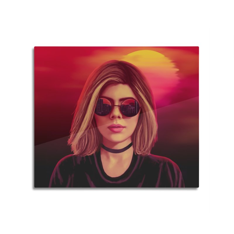 Blonde in Mounted Aluminum Print by Glitchway Store