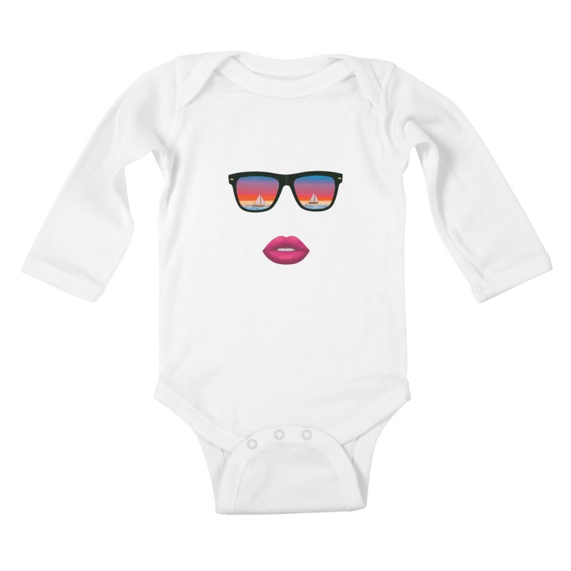 Sailing Dreams Kids Baby Longsleeve Bodysuit by The Glitchway
