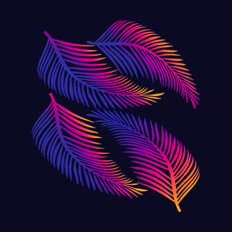 Neon Leaves None  by Glitchway Store