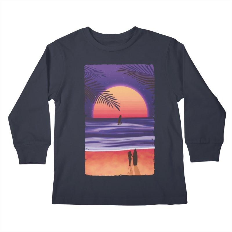 Beach Break Kids Longsleeve T-Shirt by Glitchway Store