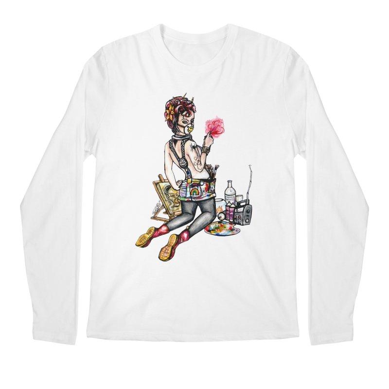 Artsy Pinup  Men's Longsleeve T-Shirt by gnarlyart's Artist Shop