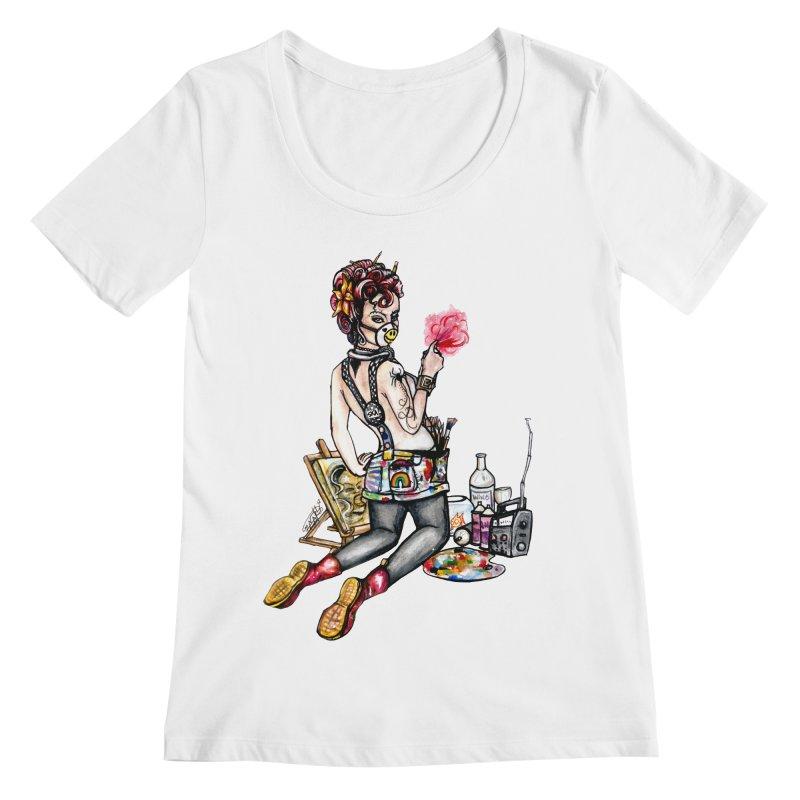 Artsy Pinup  Women's Scoopneck by gnarlyart's Artist Shop