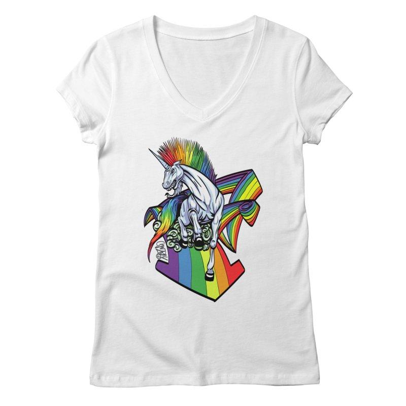 RainbowConnection Women's V-Neck by gnarlyart's Artist Shop