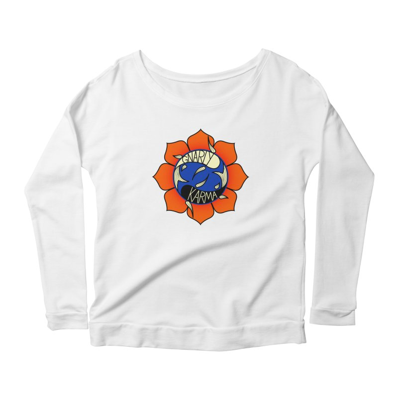 Gnarly Logo on Everyday Shirts Women's Scoop Neck Longsleeve T-Shirt by Gnarly Karma's Merch Shop