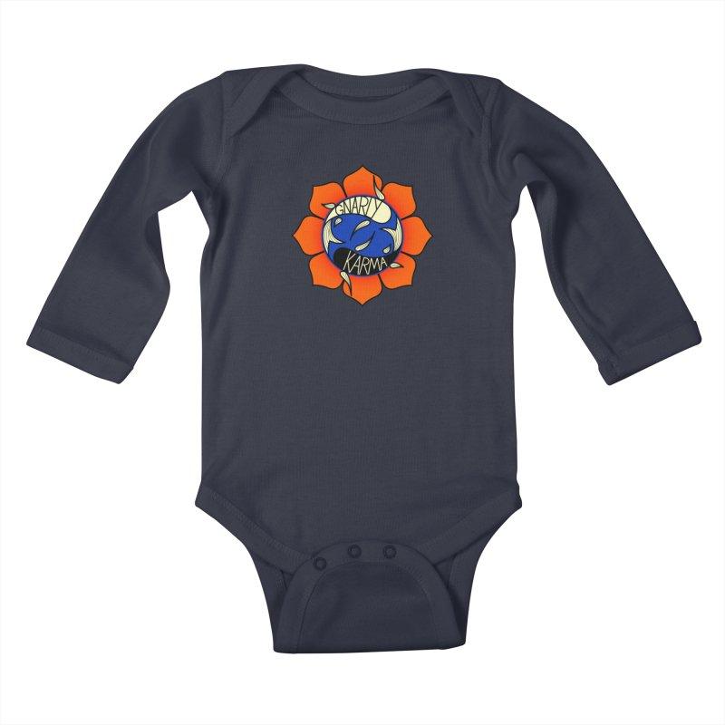 Gnarly Logo on Sweatshirts & Hoodies Kids Baby Longsleeve Bodysuit by Gnarly Karma's Merch Shop