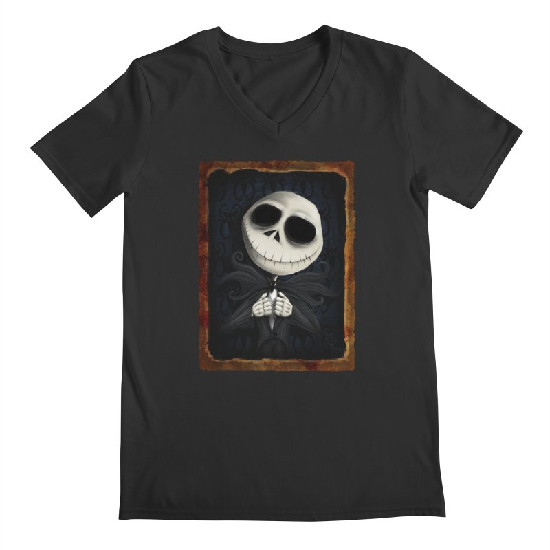 i am the pumpkin king! Men's Regular V-Neck by the twisted world of godriguezart