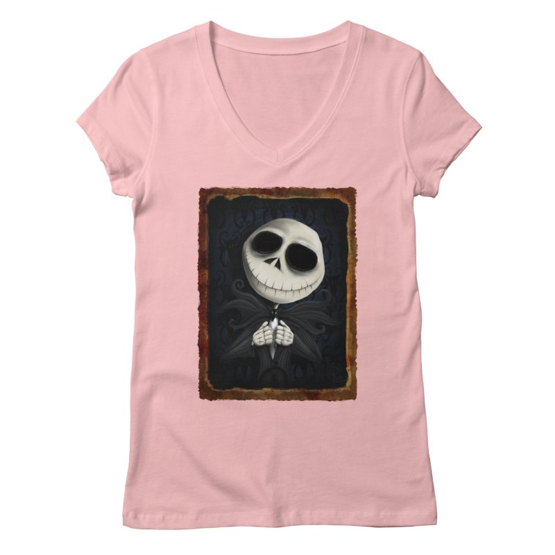 i am the pumpkin king! Women's Regular V-Neck by the twisted world of godriguezart