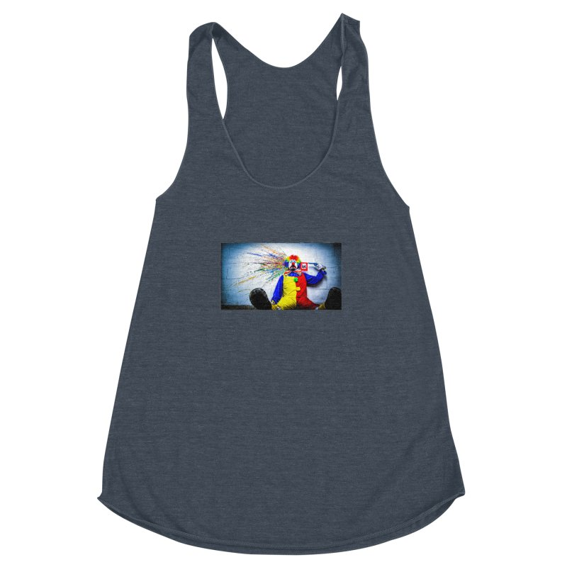 tears of a clown Women's Racerback Triblend Tank by the twisted world of godriguezart