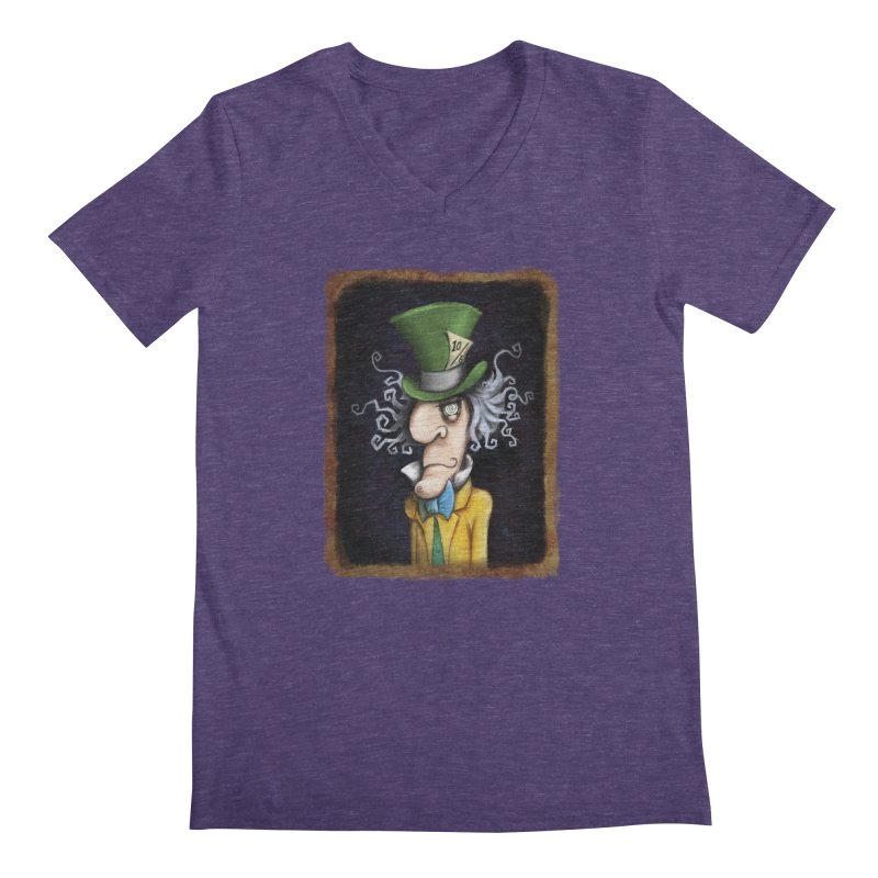 we're all mad here! Men's Regular V-Neck by the twisted world of godriguezart