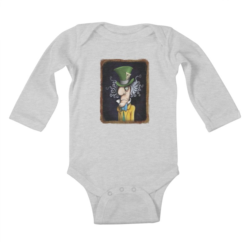 we're all mad here! Kids Baby Longsleeve Bodysuit by the twisted world of godriguezart