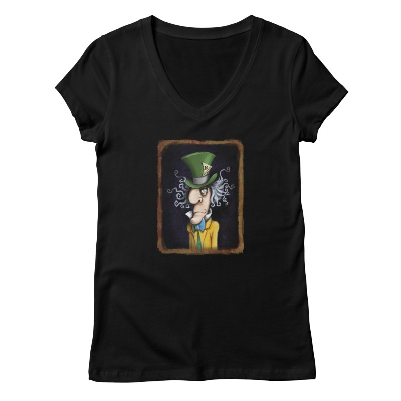 we're all mad here! Women's V-Neck by the twisted world of godriguezart
