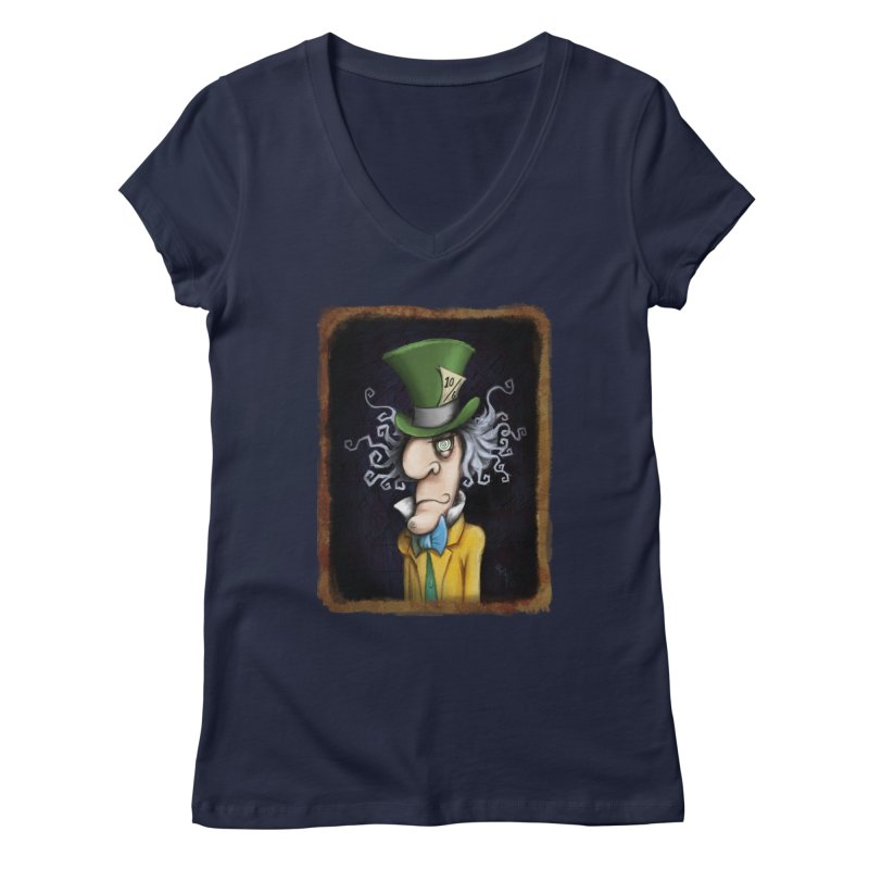 we're all mad here! Women's Regular V-Neck by the twisted world of godriguezart