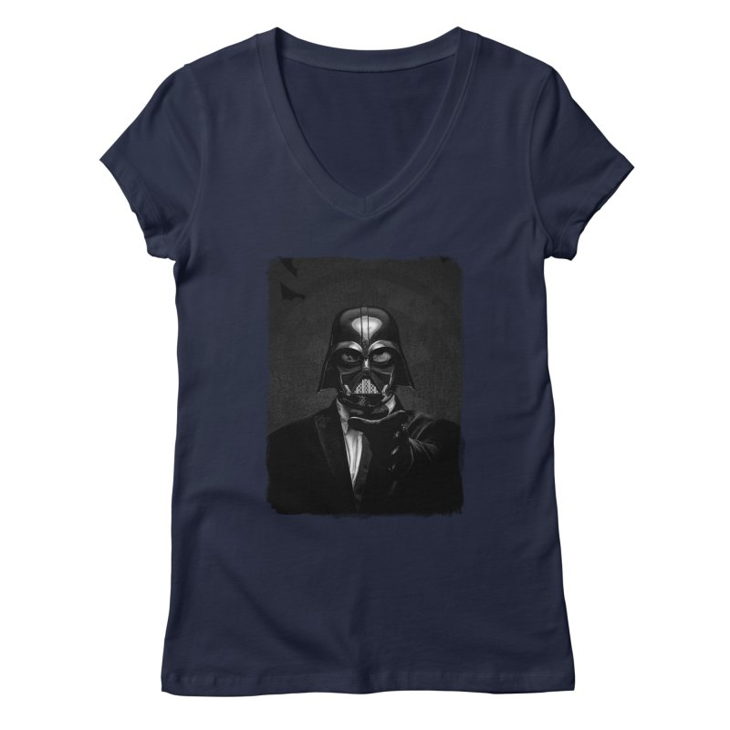 the power of the dark side Women's Regular V-Neck by the twisted world of godriguezart