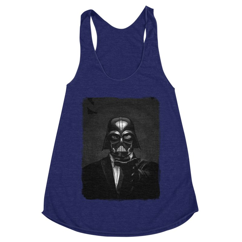 the power of the dark side Women's Racerback Triblend Tank by the twisted world of godriguezart
