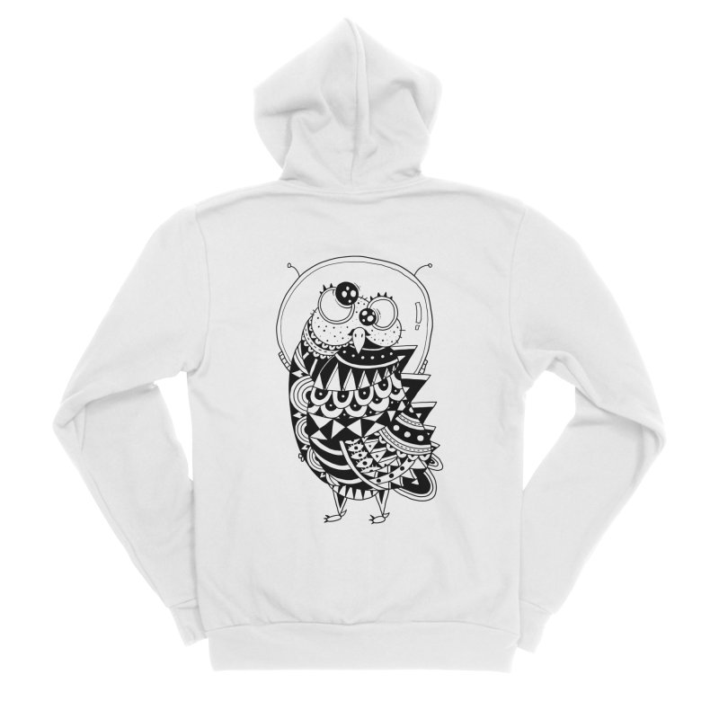 Owl Spaceman Women's Sponge Fleece Zip-Up Hoody by godzillarge's Artist Shop