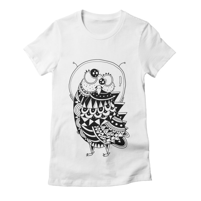 Owl Spaceman Women's Fitted T-Shirt by godzillarge's Artist Shop